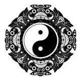 Black and white vector henna tatoo mandala. Yin  yang decorative symbol. China style. Black and white vector henna tatoo mandala. Yin and yang decorative symbol Stock Photo
