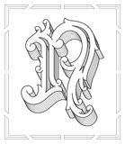 Black on white vector illustration of capital letter N Stock Photo