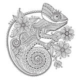 Black and white vector illustration with a chameleon in ethnic patterns.  Stock Images
