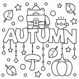Black and white vector illustration. Coloring page. Autumn. Black and white vector illustration. Coloring page. Autumn Stock Photos