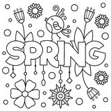 Black and white vector illustration. Coloring page. Spring Stock Photo