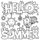 Black and white vector illustration. Coloring page. Summer Stock Image