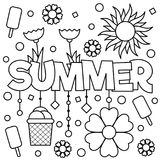 Black and white vector illustration. Coloring page. Summer Royalty Free Stock Image
