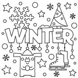Black and white vector illustration. Coloring page. Winter Royalty Free Stock Images