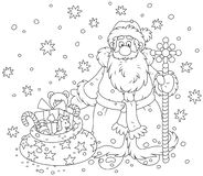 Santa Claus with a gift bag Vector Illustration