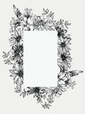 Black and white vector illustration. Frame with flowers, hand-dr Stock Photos