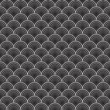 Black and white vector illustration with graphic shell ornament. Seamless texture vector illustration