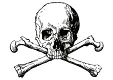 Vector illustration of a human skull and two bones Royalty Free Stock Photos