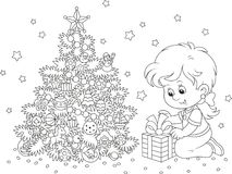Girl with a Christmas gift stock illustration