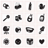 Black and white vector illustration set with sketchy baby square icons. Children toys, diapering, feeding items, stroller, bath, baby monitor Stock Images