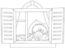 Little boy sleeping. Black and white vector illustration of a small child dreaming stock illustration