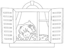 Little girl sleeping. Black and white vector illustration of a small child dreaming stock illustration