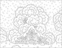 Log hut snow-covered on Christmas Royalty Free Stock Images
