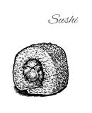 Black and white vector illustration of sushi. Stock Images