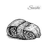 Black and white vector illustration of sushi. Royalty Free Stock Photo