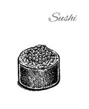 Black and white vector illustration of sushi. Stock Photos