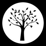 Black and white vector illustration of tree silhouette Royalty Free Stock Photography