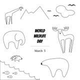 Black and White Vector Illustration of World Wildlife Day with Animals. Elephant, Deer, Polar Bear, Porcupine, Giraffe, Fish, Birds Stock Image