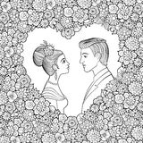 Black and white vector illustration of young couple. Man and woman looking to each other in decorative heart-shaped floral frame. Royalty Free Stock Photography