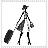 Elegant woman with luggage, Vector illustration, Royalty Free Stock Photography