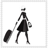 Elegant woman with luggage, Vector illustration, Stock Image