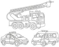 Set of special transport. Black and white vector illustrations of a fire truck, an ambulance car and a police car Royalty Free Stock Photography
