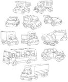 Set of toy cars, trucks and buses stock illustration