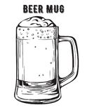Black and white vector image of a beer mug. Stock Photos