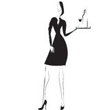 Black and white vector image waitress Royalty Free Stock Photography