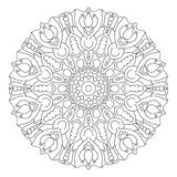 Black and white vector mandala. Ethnic Oriental circular pattern royalty free illustration
