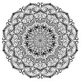 Black and white vector mandala lace floral pattern background. Monochrome vector lace mandala with flower leaves, floral ornament stock image