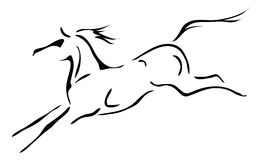Black and white vector outlines of horse.  Royalty Free Stock Photography
