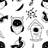 Black and white vector pattern of owls and elements on white background. Seamless illustration of birds, feathers, branch and. Nesting box. Cute owls seamless royalty free illustration