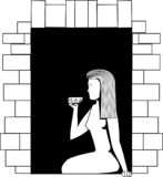 Black-and-white vector picture a girl sitting on a window and drinking from a cup vector illustration