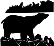 Black-and-white vector picture lonely polar bear on a stony coast stock illustration