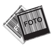 Black and white vector with Polaroid photos Royalty Free Stock Photo