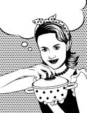 Black and white vector poster of a housewife in comic art style. Beautiful girl is cooking. Pretty woman holding a pan in her hands over dot pattern background Royalty Free Stock Photo