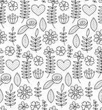 Black and white vector seamless floral pattern. Summer endless background with flowers and hearts. Stock Image