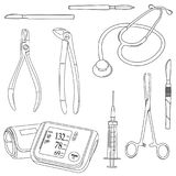 Black-and-white vector set with medical tools. vector illustration