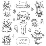 Black and white vector set, paper doll and clothes Royalty Free Stock Images