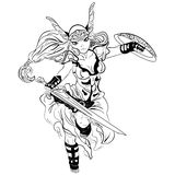 Black and white vector sketch cartoon Valkyrie Stock Photos