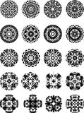 Black and white vector snowflakes and stars Royalty Free Stock Image