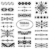 Black-and-white vector tribal set of design elements. Brush set vector illustration