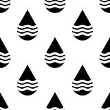 Black and white vector water drops seamless pattern Royalty Free Stock Photography