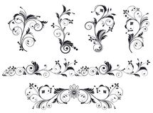 Black and white vectore curl florish vignette set. Simple curved flourish elements for decoration and graphic design royalty free illustration