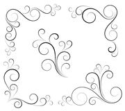 Black and white vectore curl florish vignette. Simple curved flourish elements for decoration and graphic design stock illustration