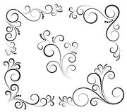 Black and white vectore curl florish vignette. Simple curved flourish elements for decoration and graphic design vector illustration