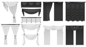 Black and white velvet silk curtains and draperies set. Interior realistic luxury curtains decoration design. Stock Photography