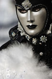 Black and white venetian mask. Typical Venetian carnival papier-mache masks. They were used both by men and women on different occasions Stock Photo