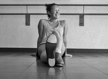 Black and White Version of Enjoying Tap Class. Black and white version of a smiling dancer in tap class Royalty Free Stock Photos